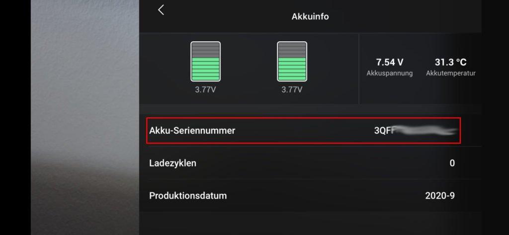 DJI Fly App Akku-Info anzeigen