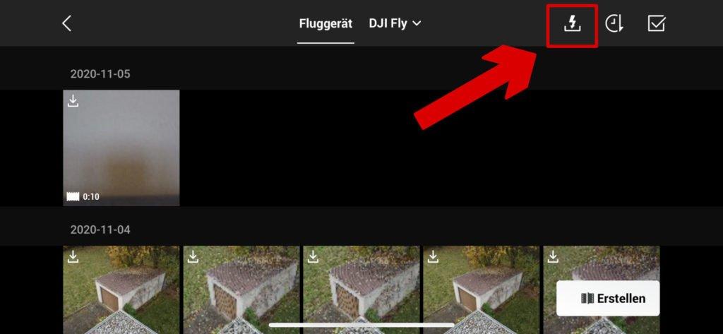 DJI Fly App Galerie QuickTransfer auswählen