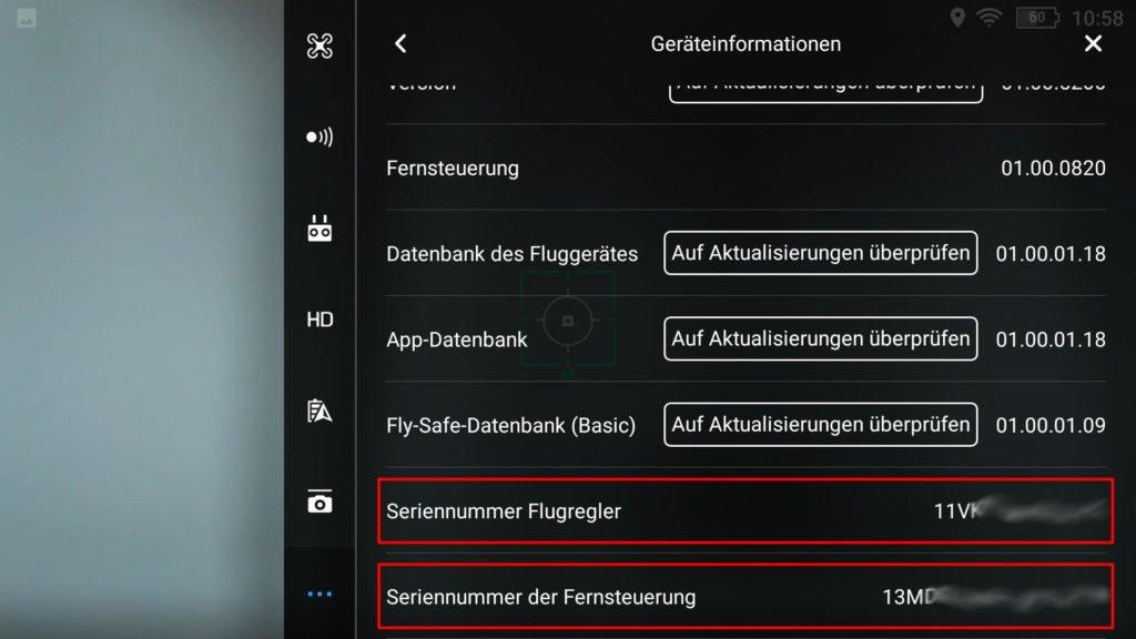 DJI Go 4 App Seriennummer anzeigen