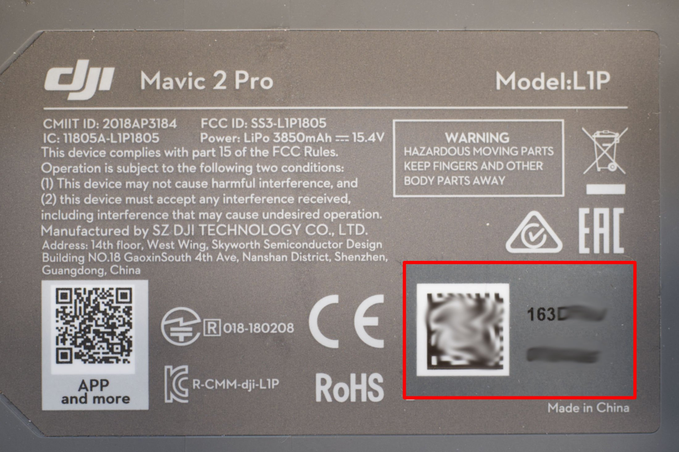 DJI Mavic 2 Pro Seriennummer Sticker 2