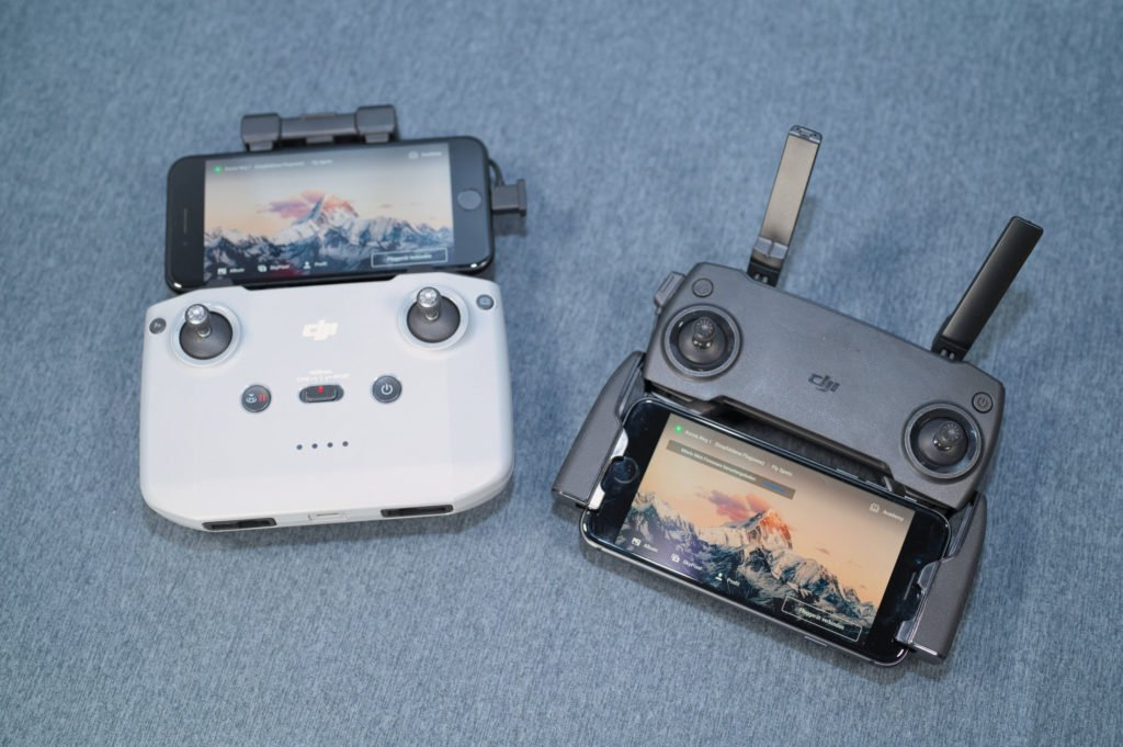 DJI Mini 2 und Mavic Mini Controller mit iPhones