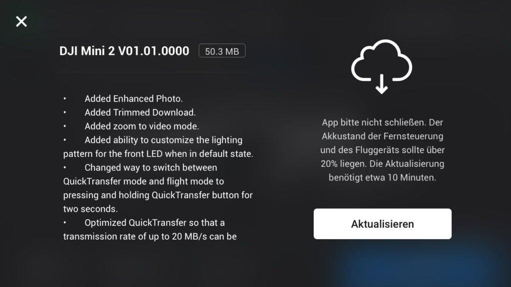Firmware v01.01.0000 Download Fenster