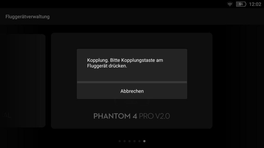 P4P V2 Koppeln - Kopplungsvorgang an der Drohne starten
