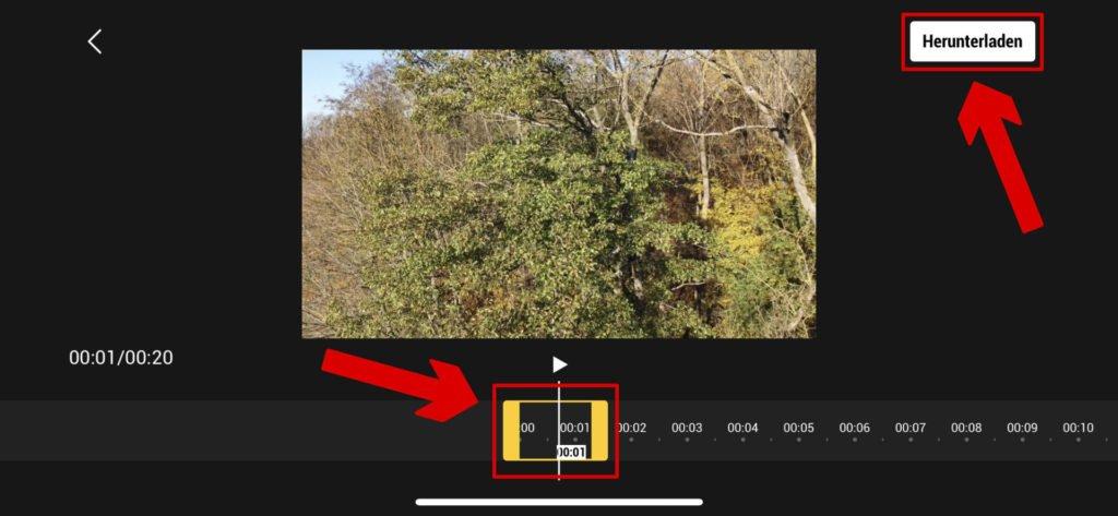 Videobereich bestimmen und Download mit QuickTransfer starten