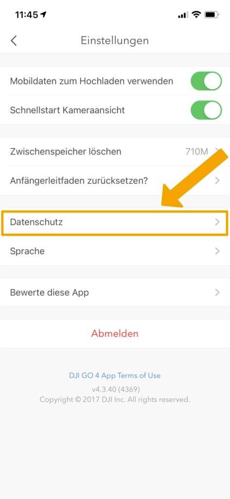 DJI Go 4 App - Datenschutzeinstellungen öffnen