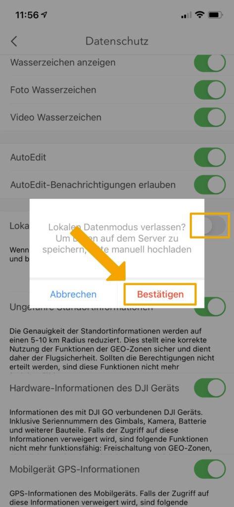 DJI Go 4 App Local Data Mode - Deaktivieren
