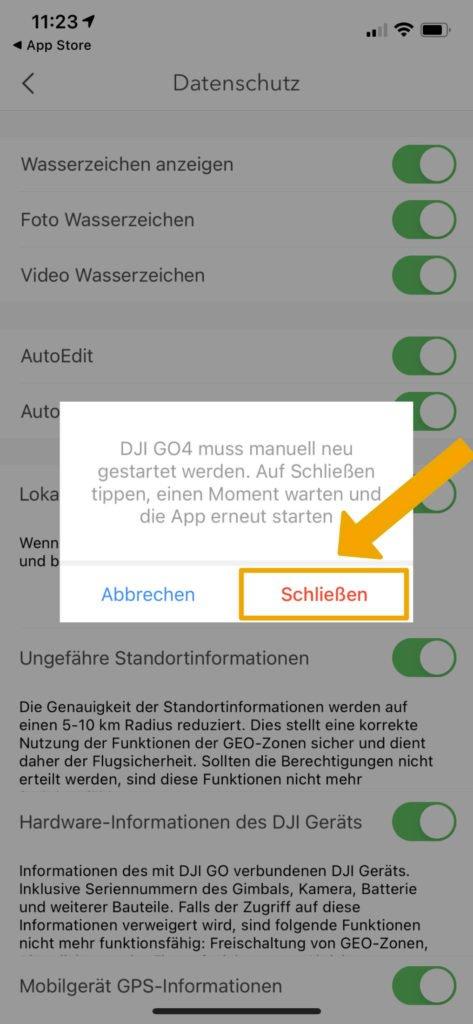 DJI Go 4 App Local Data Mode - Hinweis auf Neustart