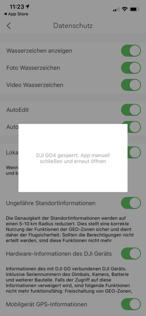 DJI Go 4 App Local Data Mode - Sperrung der App