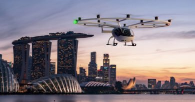 Volocopter Volocity Flugtaxi vor dem Marina Bay Sand in Singapur