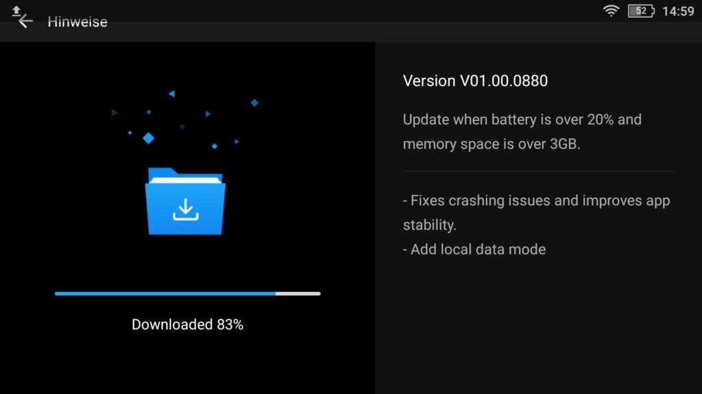 Das Smart Controller v01.00.0880 Update wird heruntergeladen