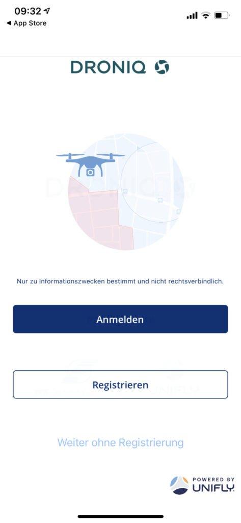 Droniq App Startscreen