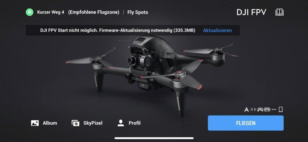 DJI Fly App - Firmware Update der FPV Drohne durchführen