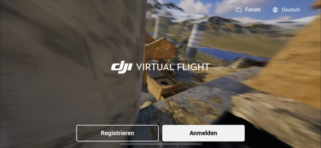 DJI Virtual Flight App Start Screen