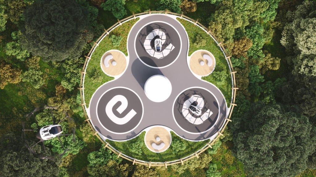Flugdeck des Ehang Vertiport Designs